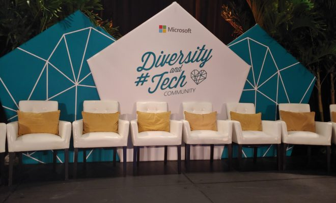 Photo of the stage at the Diversity and Tech Pre-Day at Microsoft Ignite 2018