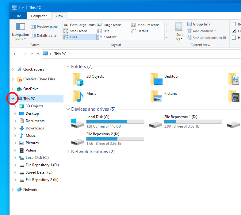 A screenshot of the File Explorer in Windows 10 with the Navigation Pane Enabled
