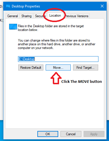 Screenshot of the Desktop Properties Dialog on the Location Tab