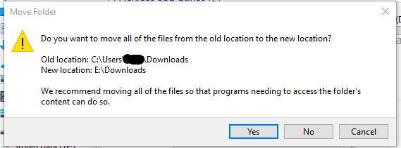 Dialog box asking to confirm file move