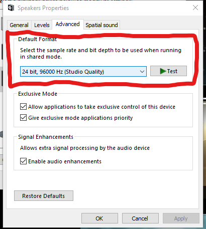 The Advanced Tab on an Audio Devices Properties in Windows Control Panel
