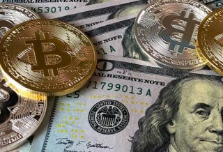 Collage of Hundred Dollar Bills and Bitcoin Coins in Silver and Gold
